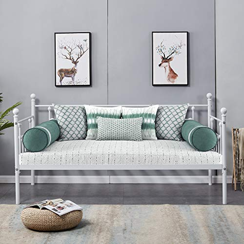 VECELO Daybed Frame/ Multifunctional Metal Platform with Headboard Victorian Style/Mattress Foundation/Children Bed Sofa for Guest Living Room,Twin, Victorian White