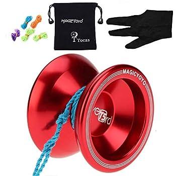 MAGICYOYO Unresponsive Yoyo T5 Overlord Aluminum Professional Yo-Yos Yoyo Balls with 5 Strings Gloves with Yoyo Bag Red