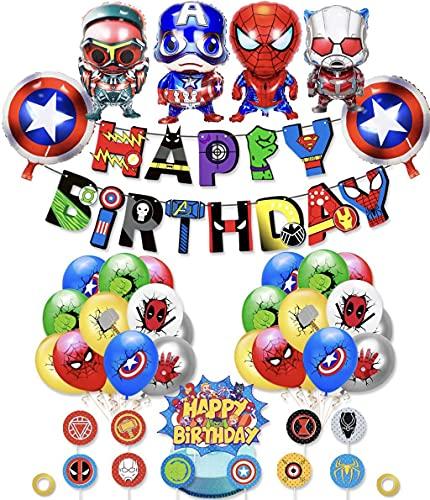 Superheroes Globos Decoracion Cumpleaños de Superhéroe Feliz Cumpleaños del Pancarta Superheroes Adornos de Pastel Superhéroe Marvel Cumpleaños Decoracion (color-1)