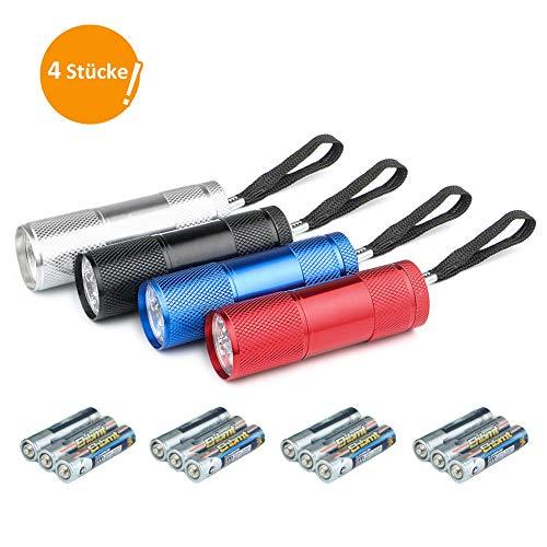 JTENG Mini LED Taschenlampe Mit 12 Batterien, LED Handlampe Aluminium Taschenlampe mit Schlüsselband für outdoor,Camping, Wandern, Jagen, Rucksacktouren, Angeln, Dringend,Grillen。(4 Stücke )