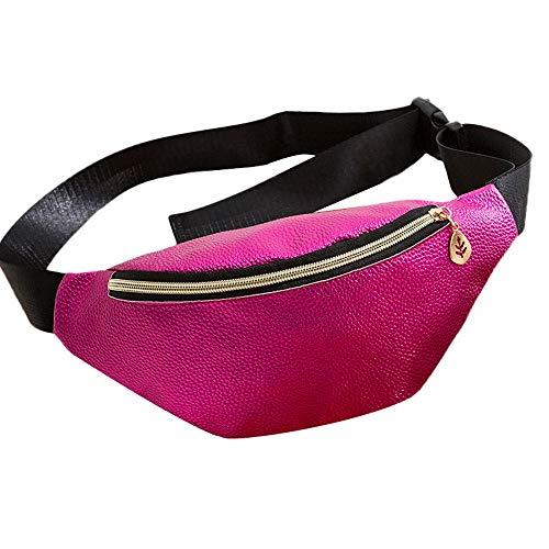 WHSHINE Damen Mode Bauchtasche Kette Leder Umhängetasche Schultertasche Multifunktionale Hüfttasche Wander-Hüfttaschen für Reise Wanderung und Alle Outdoor (Pink,Free)