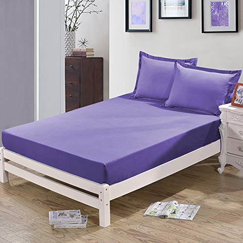NHhuai Protector de colchón - óptimo antiácaros Funda Protectora de un Solo Producto de Color sólido Funda de Cama Antideslizante