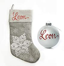 The Christmas Cart Personalised Gifts & Keepsakes Silver Snowflake Stocking and Bauble Pack