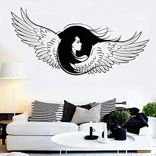 yaoxingfu Adesivo murale Ali di Angelo Bella Ragazza Faccia Capelli Lunghi Adesivo murale Decorazioni per la casa Camera da Letto murale Vinile Rimovibile Nuovo Muursticker L Giallo S 85 cm x 42 cm