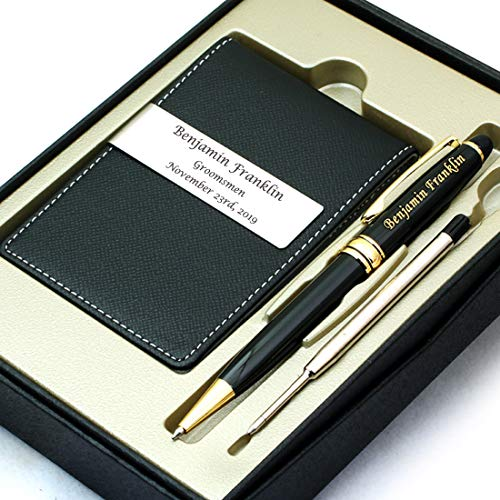 Free Engraving - Groomsmen Gift, Roller Ballpen, Ballpoint pen, Ball pen, Refillable Pen, Refill pen, Leather Money Clips, Card Holder, Three Lines Each 20 Characters, Free Customization