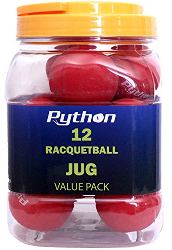 Python Red Racquetballs (Value Pack - 12 Ball Jug/Lightning Fast!)