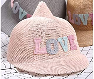 Baby Decoration Hat Kids Pointed Cap Children Breathable Straw Baseball Cap Sun Protection Hat for Out-Going Cute Cap (Color : Pink, Size : 48-52cm)