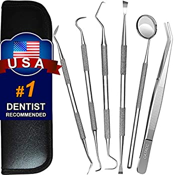 6-Pack G.CATACC Teeth Cleaning Tools Stainless Steel Set with Mouth Mirror
