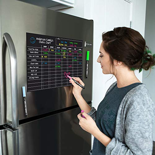 Magnetic Black Dry Erase Chore Chart for Multiple Kids and Adults: Fridge 17x12' - Includes 3 Bright Neon Chalk Markers - Daily Responsibility Rewards...