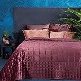Eurofirany Laila, copriletto di alta qualità, in velluto, trapuntato, elegante e glamour, camera da letto, camera degli ospiti, lounge, poliestere, rosa scuro, 220 x 240 cm