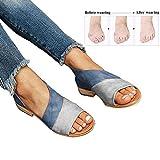 Mujer Verano Sandalias Cuero de PU Zapatillas Corrector de juanetes ortopédico Casuales Antideslizante Respirable Zapatos ortopédicos Viaje Playa 2019(Azul),Blue,38