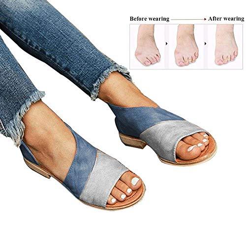 Mujer Verano Sandalias Cuero de PU Zapatillas Corrector de juanetes ortopédico Casuales Antideslizante Respirable Zapatos ortopédicos Viaje Playa 2019(Azul),Blue,37
