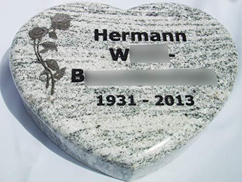 designgrab Liegestein -Grabherz- aus Granit Viscont White, inkl. Beschriftung von Vor- und Nachname sowie Geburts- und Sterbedatum