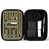 【16 Pieces】<span class='highlight'><span class='highlight'>ProCase</span></span> Universal Handgun Cleaning kit for .22.357.380.9mm.45 Caliber Pistol Gun, Compact Portable Range Bag with Brass, Jags, Tips, Brush, Rods and Gun Cleaning Pickk –Green