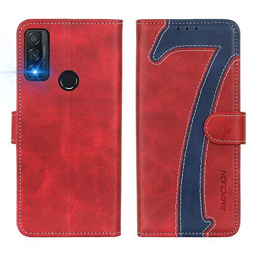FMPCUON Cover per Huawei P Smart 2020, Custodia in Pelle Huawei P Smart 2020 Libro, Portafoglio Flip Protettiva Caso, Folio Wallet Case per Huawei P Smart 2020 - Rosso Blu