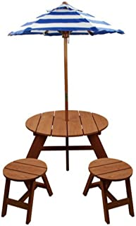 Home Wear Wood Round Table with Umbrella and 2 Chairs Patio Table, Red Wood