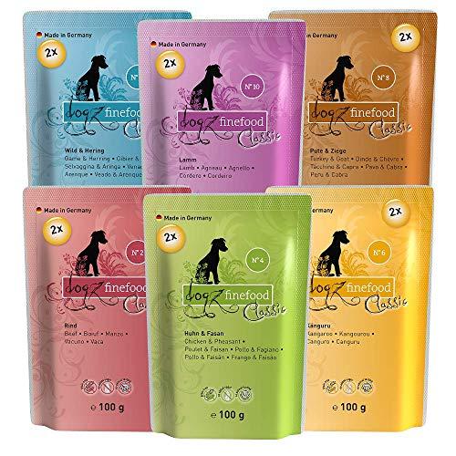 dogz finefood Hundefutter nass - Feinkost Nassfutter im Frischebeutel Multipack für kleine Hunde und Welpen - getreidefrei und zuckerfrei, verschiedene Sorten, 12er Pack (12 x 100 g)