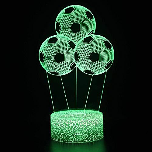 Luz nocturna para niños Lámpara 3D Ilusión Luz Nocturna LED con Cable USB y 7 funciones de cambio de color regalo de Navidad jóvenes, adultos, niñas Balón de fútbol-Touch
