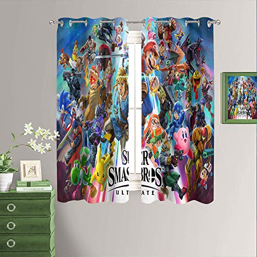 Blackout Curtains for Kids Room Super Smash Bros Panels for Living Room, Thermal Insulated Grommet Room Darkening Draperies for Window W42 x L54 Inch