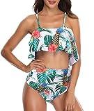 Femme Volants Bikinis Taille Haute Vintage 2 Pièces Push Up Maillot de Bain Fleurs...