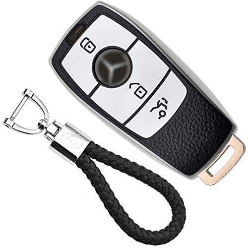 KASER Funda Carcasa Llave Coche Silicona TPU Compatible para Mercedes Classe A B C E CLA CLE GLA GLA GLE GLS Cover Llaveros Efecto Piel Protección Mando de Coche (Plata)