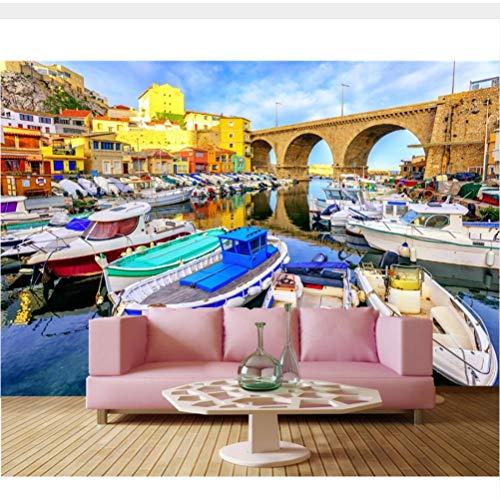 Meaosy Frankrijk Bruggen Huizen Motorboot Boten Stad Behang, Restaurant Bar Woonkamer Tv Bank Muur Slaapkamer 3D Mural 350x250cm