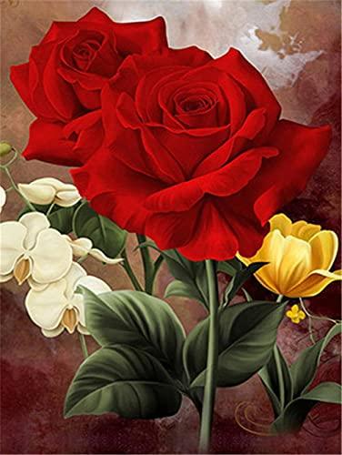 5D DIY Pintura Diamante por Número Kit Rosa roja para Adultos y Niños Taladro Completo Cristal Rhinestone Lienzo Diamond Painting Bordado Punto de Cruz Arte Craft Decoración del Pared Hogar 40x50cm