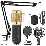 Microfono Condensador Profesional Potente Jack Estereo para Set Estudio grabacion Podcast directos influencers BMKLACK800 (Dorado)