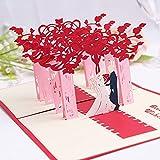 Tarjeta de Felicitación boda Emergente 3D Bendición de la Boda Tarjeta Felicitacion Plegable Tarjeta Creativa con Sobre 19.5 * 18.5 cm