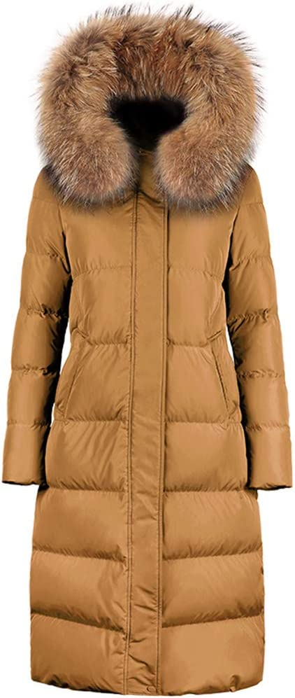 RONG COAT Duck Down Long Section Down Jacket Thickening,Winter Parka Padded Warm Duck Down Filling Faux Fur Hood,Yellow,L