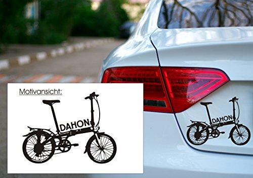 Autoaufkleber - Dahon Klapprad - Faltrad - Fahrrad - KFZ-Aufkleber (450 mm x 340 mm, Weiß)