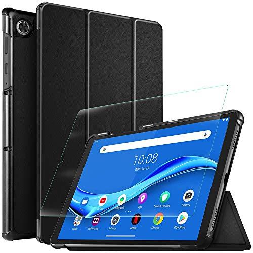 IVSO Cover per Lenovo Tab M10 Plus, per Lenovo Tab M10 Plus Pellicola, per Lenovo Tab M10 FHD Plus TB-X606F Pellicola Protettiva, Custodia Cover con 2.5D, 9H Vetro Temperato, Nero