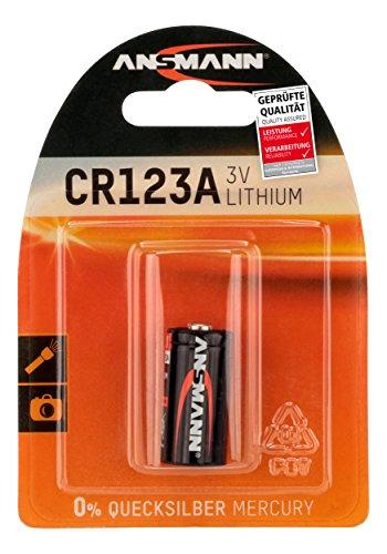 ANSMANN CR123A (3V) Lithium Batterie Fotobatterie (1er-Pack) für Garagentoröffner, Alarmanlage, Funkauslöser für Kamera, Messgeräte, Klingel usw.