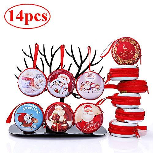 Gudotra 14pcs Mini Billetera Pequeña Auriculares Monedero Llavero Santa Claus Decoraciones Navideñas Bolsas Caramelos Navidad (14pcs Navidad)