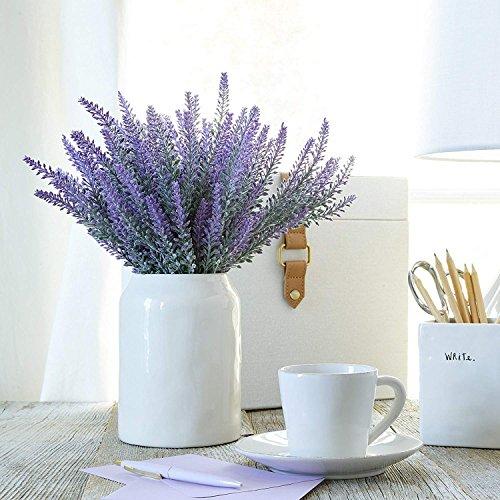 Pauwer 8 PCS künstliche Lavendel Blumen Gefälschte Lavendel Blumenstrauß Arrangements für DIY Hochzeit Garten Büro Zuhause Deko