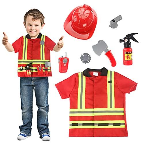 Pompier Deguisement Enfant Pompier Costume avec Pompier Jouet Accessoires Jeu de Rôle Deguisement, Cadeau pour garçon ou Fille