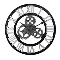 ガーデンラージウォールクロックローマ数字-ギア工業用時計リビングルームウォールクロック家庭用サイレントクロックデコレーション-ゴールデン-1_60cm