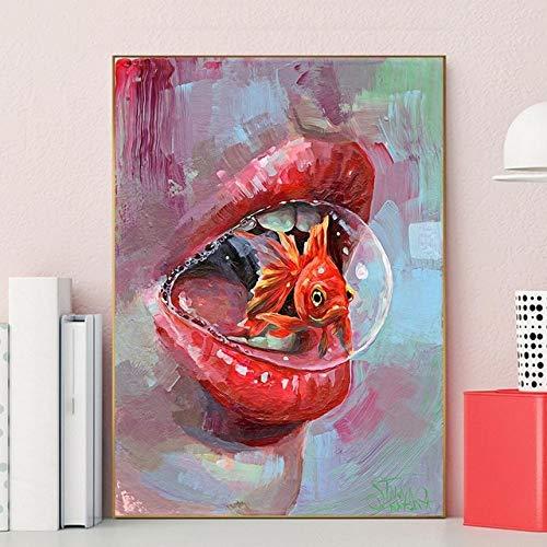 Abstrakte Lippen Goldfisch Leinwand Malerei moderne Plakatkunst und Malerei schmücken Wohnzimmer Gang Wand rahmenlose Dekoration Bild A70 30x40cm