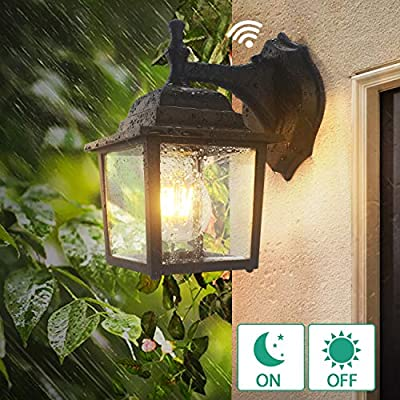 Dusk to Dawn Sensor Outdoor Wall Lights, Lamomo Wall Sconce Porch Light Fixture with E26 6W Led Light Bulb, UL Listed Anti-Rust Waterproof Black Lamp for Porch,Court-Yard Not Motion/Solar Light Black