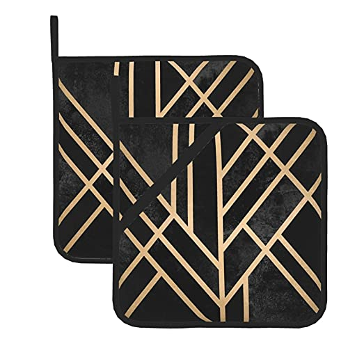 Juego de 2 soportes para ollas de cocina resistentes al calor y manoplas de horno, bandeja de servir Art Deco para cocinar a la parrilla, almohadillas de aislamiento de microondas