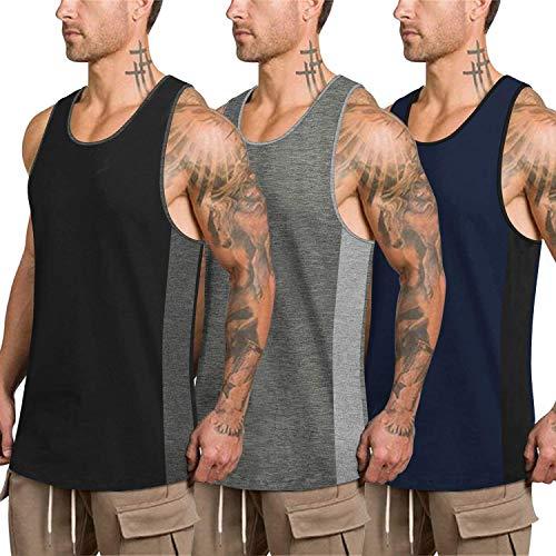 COOFANDY Camiseta sin mangas para hombre, de secado rápido, 3 unidades, de algodón, deportiva, para correr, fitness, culturismo Negro, gris, azul marino S
