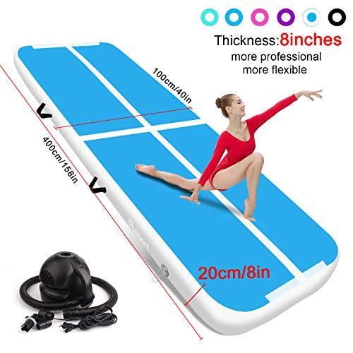 FBSPORT airtrack 20cm hoch Verdicken Aufblasbar Gymnastikmatte 4m AirTrack Matte für Gym Training Yogamatte Trainingsmatten Weichbodenmatte Turnmatte Fitnessmatte Aufblasbar Tragbar