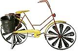 colourliving Windrad Windspiel Fahrrad Citybike Metallwindrad Damen Fahrrad gelb 2 Windräder kugelgelagert mit 2 Pflanztöpfe