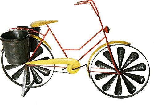 Colourliving Windwiel windspel fiets citybike metalen wind dames fiets geel 2 windwielen kogelgelagerd met 2 plantenpotten