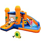 POTBY Inflatable Bounce House, Kids Castle Water Slide with Splash Pool, Climbing Wall, Jump Area, Water Cannon, Storage Bag, Repair Kit, Blower, Bouncer for Indoor Outdoor 11.15ft x 11.15ft x 7ft H