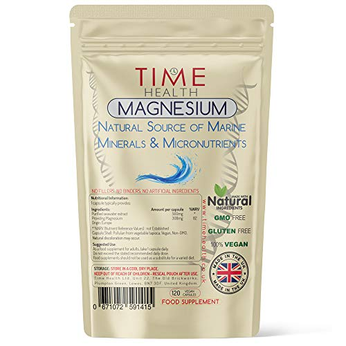 Marine Magnesium Purified Sea Water Minerals & Micronutrients 308mg of Magnesium (120 Capsule Pouch)