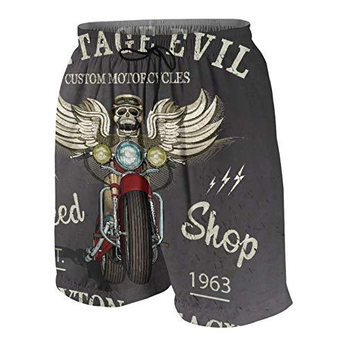 KOiomho Hombres Personalizado Trajes de Baño,Cartel de Motocicleta Personalizada Vintage,Casual Ropa de Playa Pantalones Cortos