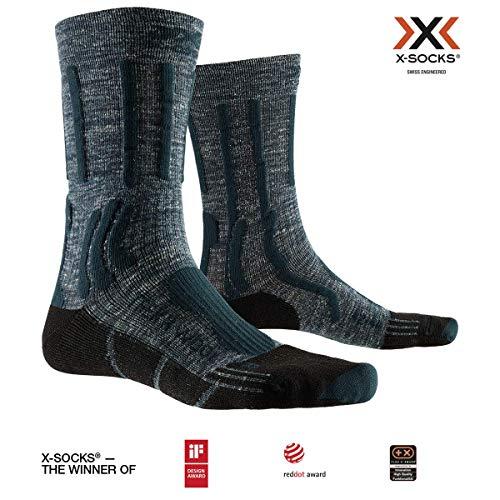 X-SOCKS Trek X Linen Chaussette Mixte Adulte, Forest Green/Opal Black, FR : M (Taille Fabricant : 39-41)