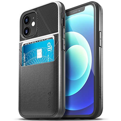 Vena Legacy Funda Cartera Compatible con Apple iPhone 12 Mini (5.4'-inch), (CornerGuard Protection, 2 Ranuras para Tarjetas) Carcasa de Cuero Case - Negro