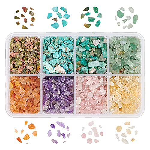 OLYCRAFT 216g Turquesa Chip Beads Chips de Piedras Preciosas Sin Agujero Piedra de Cristal Natural Piedras Preciosas Trituradas Piezas de Forma Irregular Chips de Cuarzo Caído Piedras